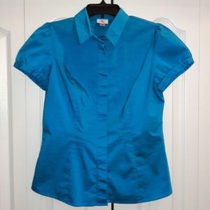 Worthington Blue Button Up Blouse Sz M